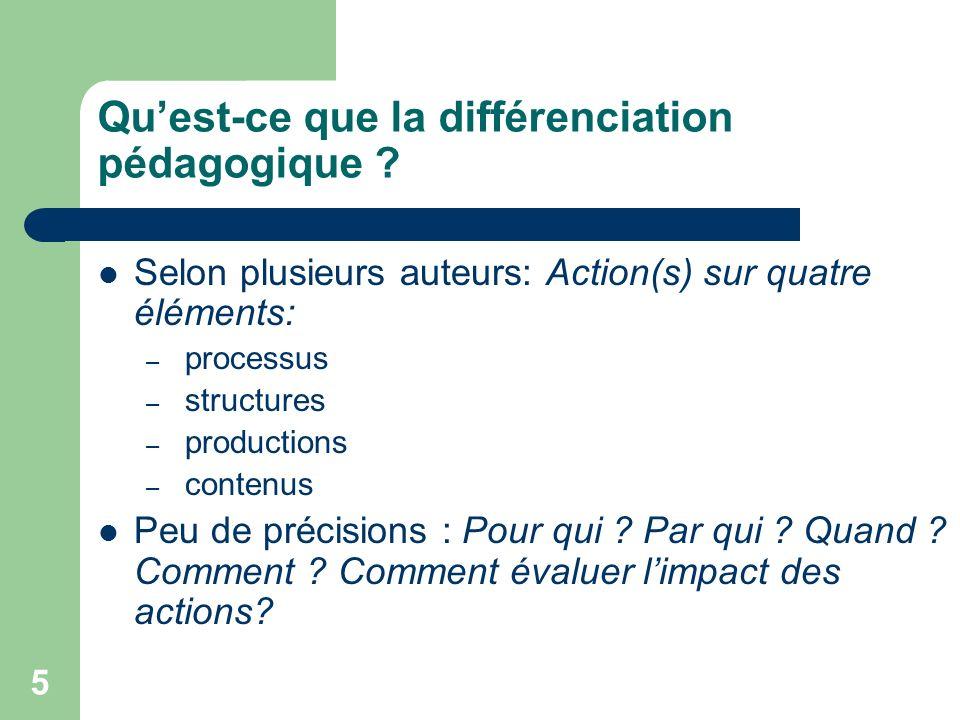 4 Plan de latelier Notre vision de la différenciation pédagogique (DP) Des exemples de démarches de DP Présentation et partage doutils Questions / rép