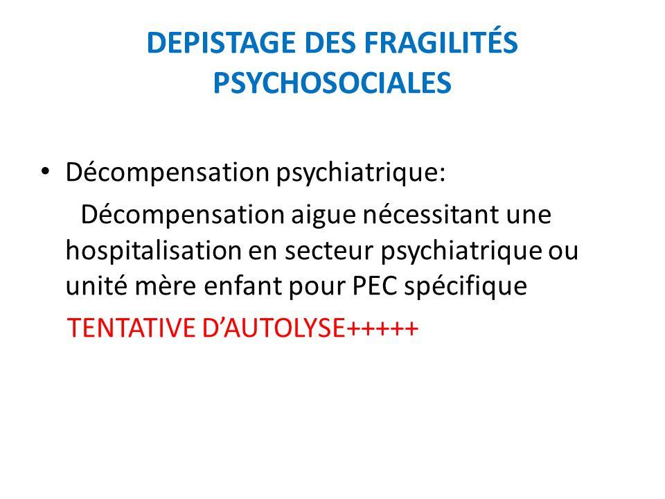 DEPISTAGE DES FRAGILITÉS PSYCHOSOCIALES Décompensation psychiatrique: Décompensation aigue nécessitant une hospitalisation en secteur psychiatrique ou