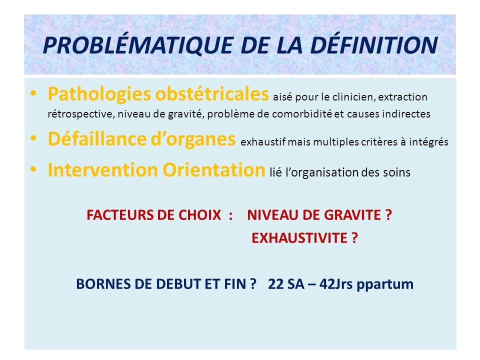 PROBLÉMATIQUE DE LA DÉFINITION Pathologies obstétricales aisé pour le clinicien, extraction rétrospective, niveau de gravité, problème de comorbidité