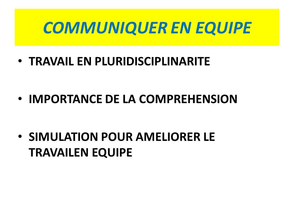 COMMUNIQUER EN EQUIPE TRAVAIL EN PLURIDISCIPLINARITE IMPORTANCE DE LA COMPREHENSION SIMULATION POUR AMELIORER LE TRAVAILEN EQUIPE