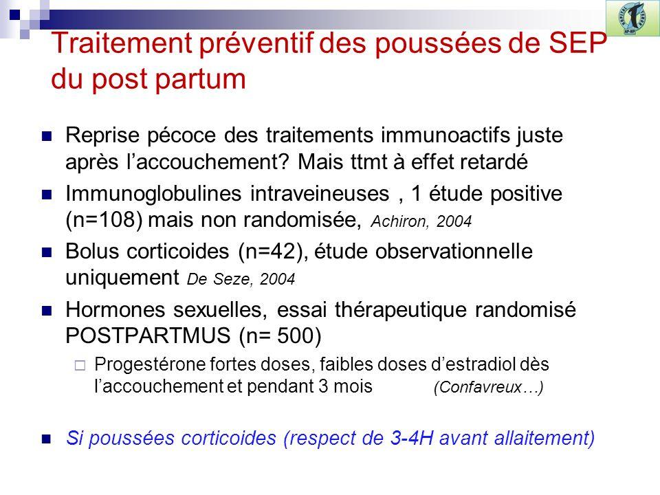 Traitement préventif des poussées de SEP du post partum Reprise pécoce des traitements immunoactifs juste après laccouchement? Mais ttmt à effet retar