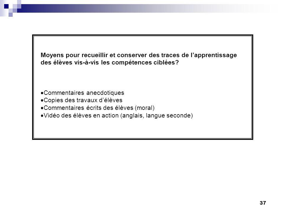 36 Planification de laction QuoiQuand/ Qui Rigueur dans lécriture du plan du cours (menu)-Immédiatement (19 janvier) -Enseignantes Capsule de formation sur lenseignement explicite des stratégies.
