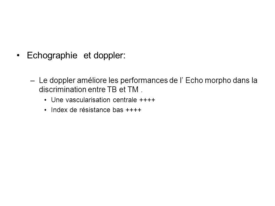 Echographie et doppler: –Le doppler améliore les performances de l Echo morpho dans la discrimination entre TB et TM. Une vascularisation centrale +++