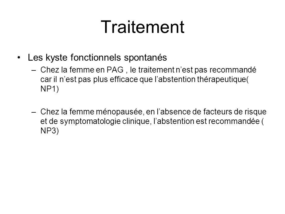 Traitement Les kyste fonctionnels spontanés –Chez la femme en PAG, le traitement nest pas recommandé car il nest pas plus efficace que labstention thé