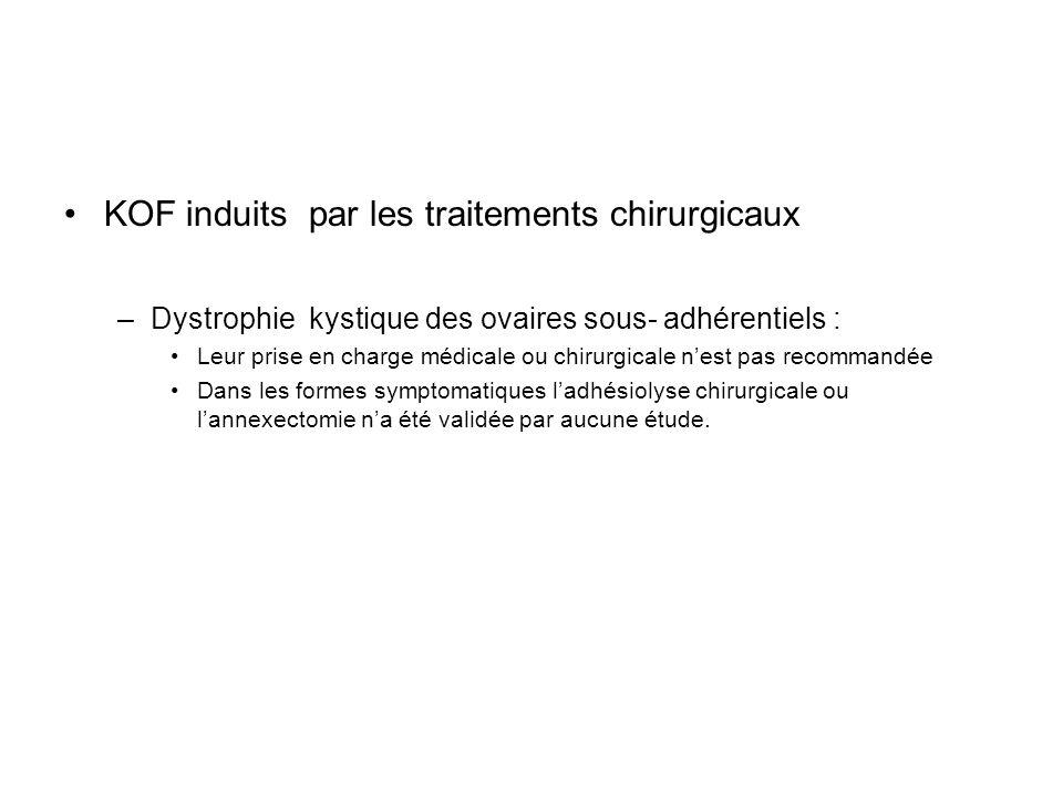 KOF induits par les traitements chirurgicaux –Dystrophie kystique des ovaires sous- adhérentiels : Leur prise en charge médicale ou chirurgicale nest