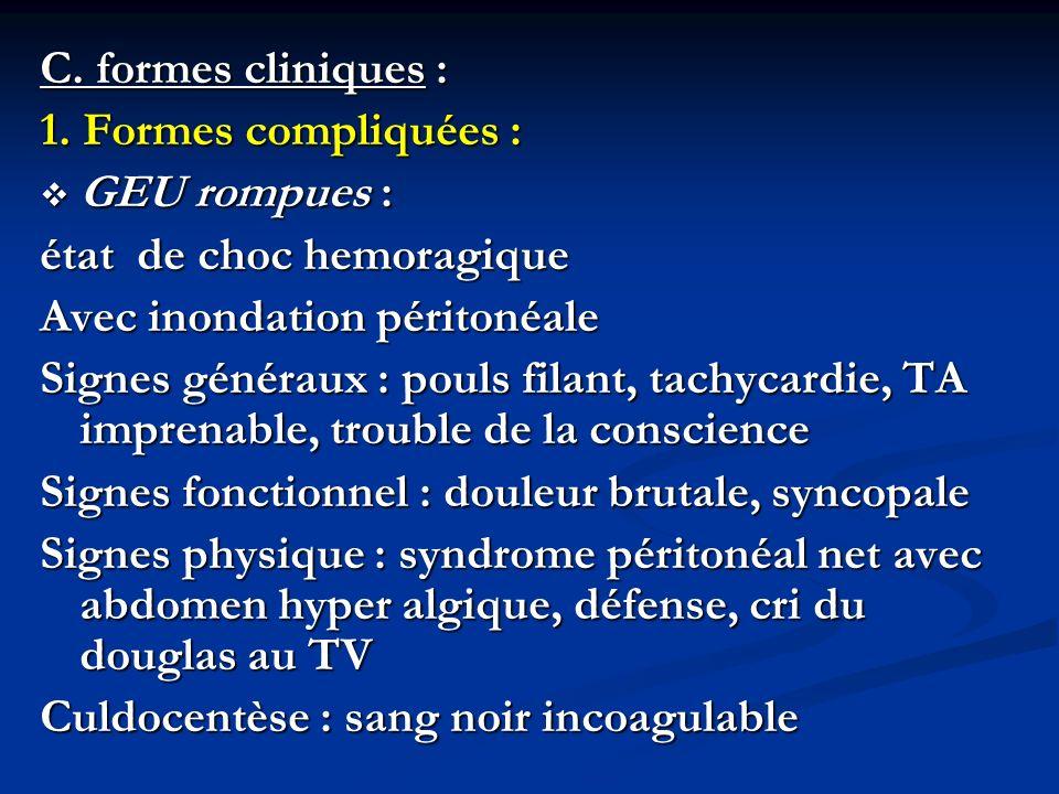 C. formes cliniques : 1. Formes compliquées : GEU rompues : GEU rompues : état de choc hemoragique Avec inondation péritonéale Signes généraux : pouls