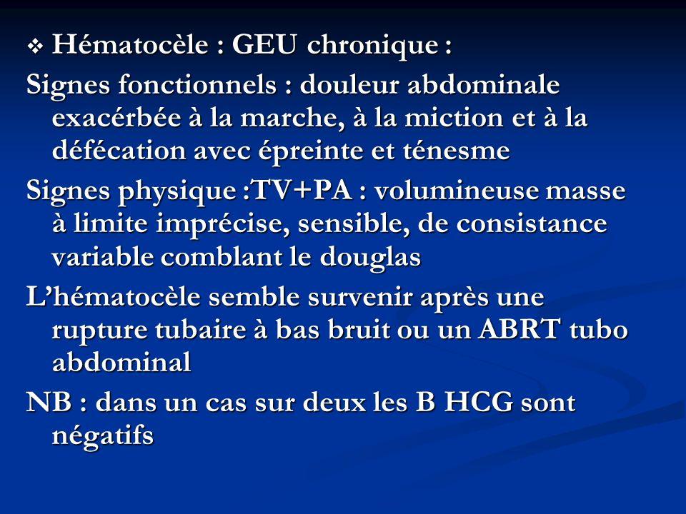Hématocèle : GEU chronique : Hématocèle : GEU chronique : Signes fonctionnels : douleur abdominale exacérbée à la marche, à la miction et à la défécat