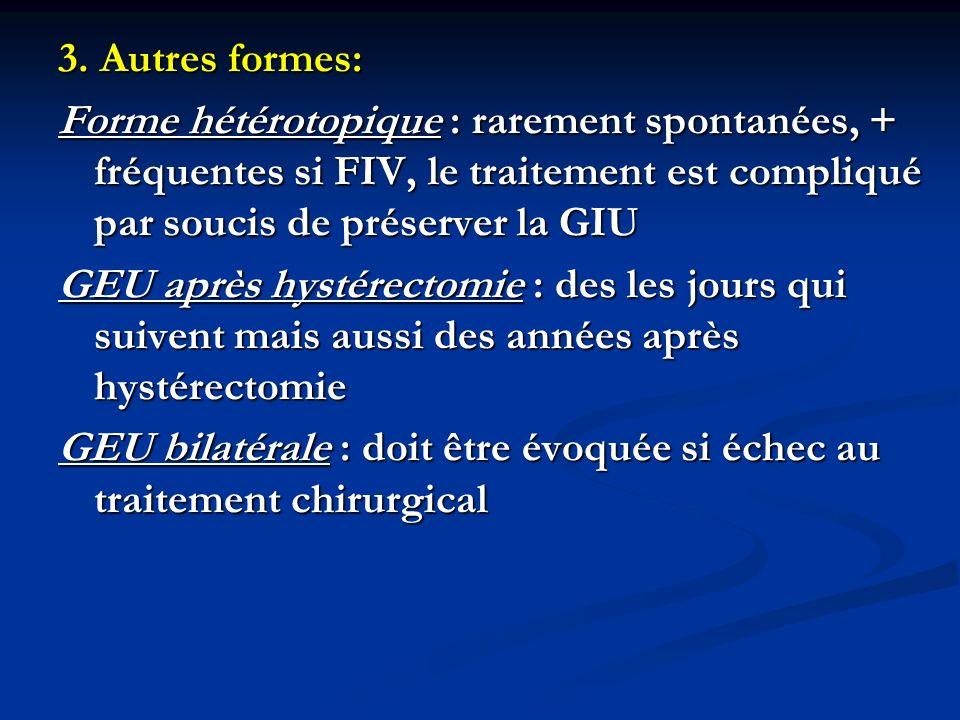 3. Autres formes: Forme hétérotopique : rarement spontanées, + fréquentes si FIV, le traitement est compliqué par soucis de préserver la GIU GEU après