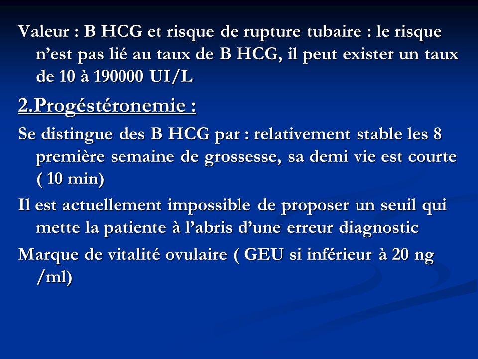 Valeur : B HCG et risque de rupture tubaire : le risque nest pas lié au taux de B HCG, il peut exister un taux de 10 à 190000 UI/L 2.Progéstéronemie :