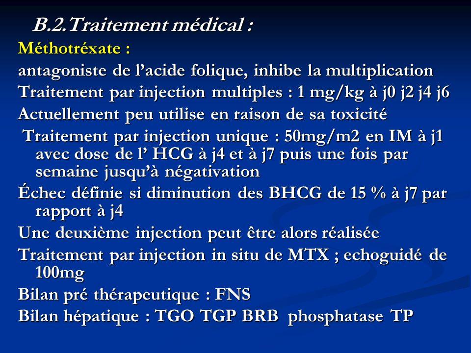 B.2.Traitement médical : B.2.Traitement médical :Méthotréxate : antagoniste de lacide folique, inhibe la multiplication Traitement par injection multi