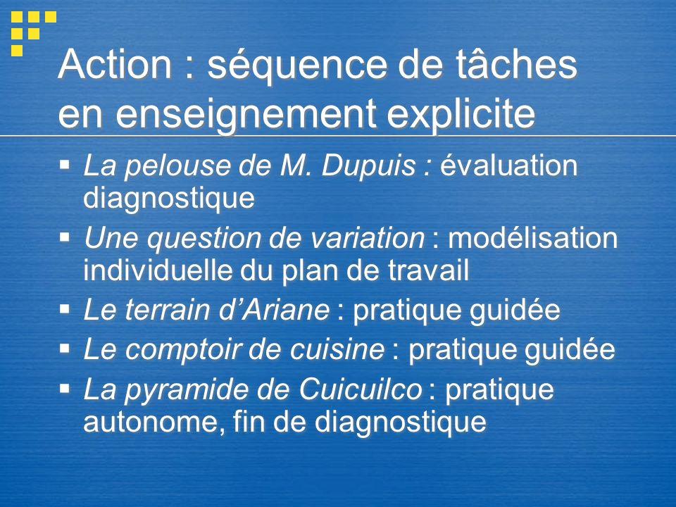 Action : séquence de tâches en enseignement explicite La pelouse de M. Dupuis : évaluation diagnostique Une question de variation : modélisation indiv