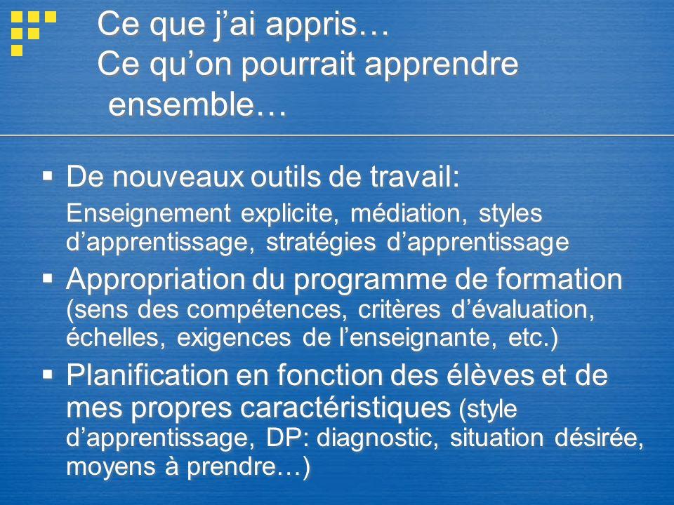 Ce que jai appris… Ce quon pourrait apprendre ensemble… De nouveaux outils de travail: Enseignement explicite, médiation, styles dapprentissage, strat