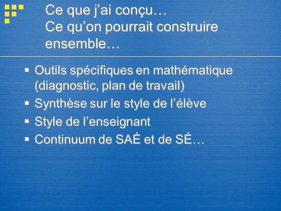 Ce que jai conçu… Ce quon pourrait construire ensemble… Outils spécifiques en mathématique (diagnostic, plan de travail) Synthèse sur le style de lélè