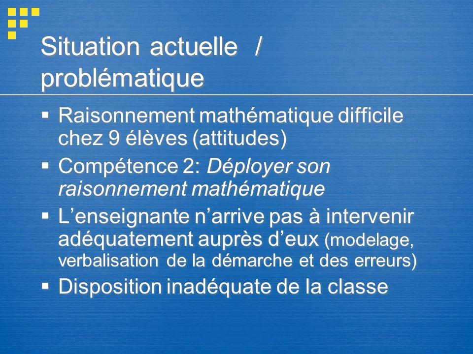Situation actuelle / problématique Raisonnement mathématique difficile chez 9 élèves (attitudes) Compétence 2: Déployer son raisonnement mathématique