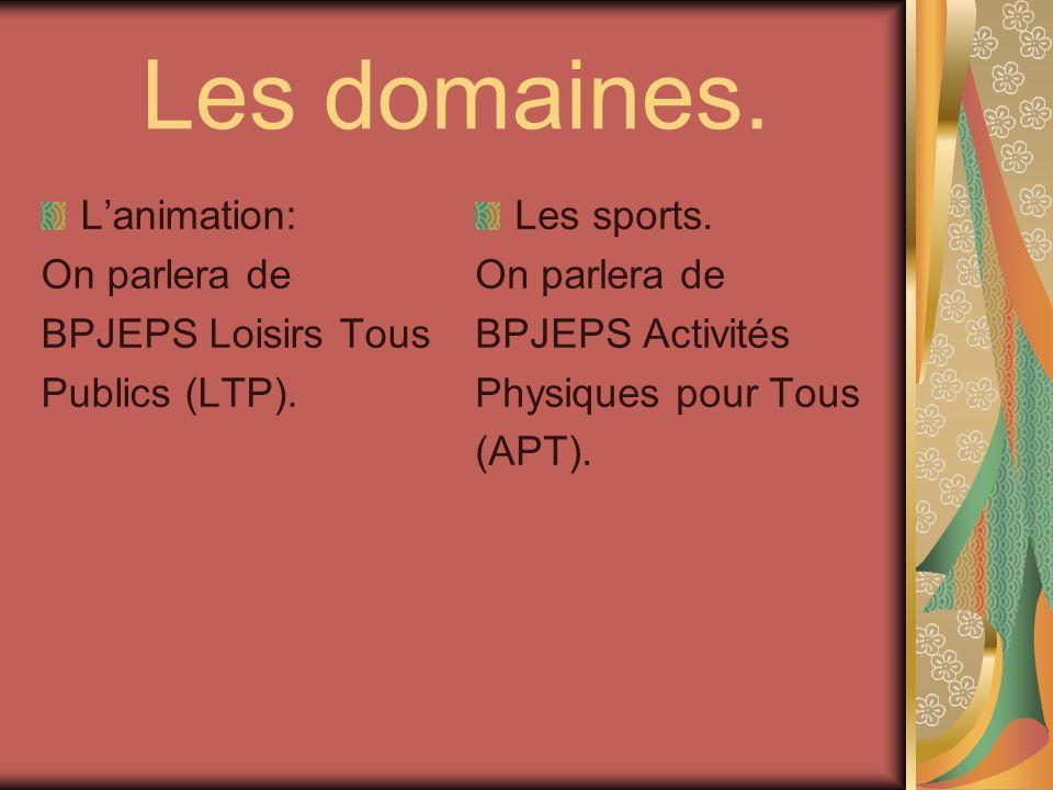 Les domaines. Lanimation: On parlera de BPJEPS Loisirs Tous Publics (LTP). Les sports. On parlera de BPJEPS Activités Physiques pour Tous (APT).