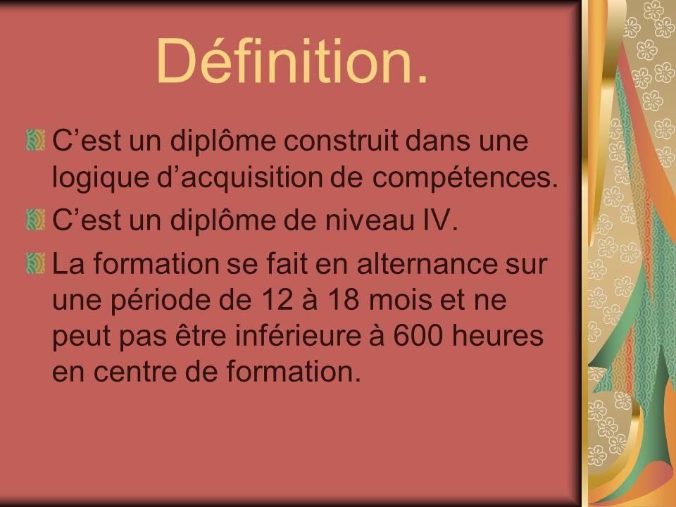 Définition. Cest un diplôme construit dans une logique dacquisition de compétences. Cest un diplôme de niveau IV. La formation se fait en alternance s