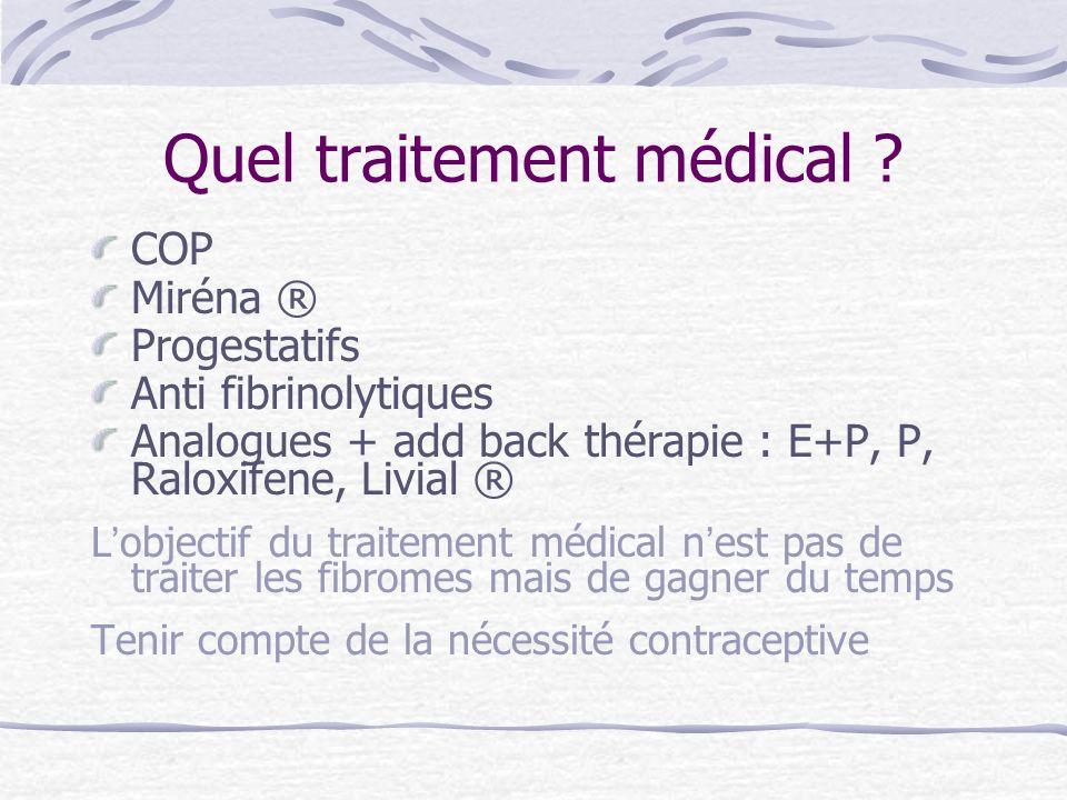 Quel traitement médical ? COP Miréna ® Progestatifs Anti fibrinolytiques Analogues + add back thérapie : E+P, P, Raloxifene, Livial ® Lobjectif du tra