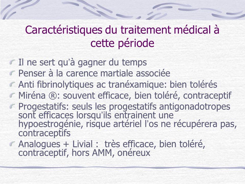 Caractéristiques du traitement médical à cette période Il ne sert quà gagner du temps Penser à la carence martiale associée Anti fibrinolytiques ac tr