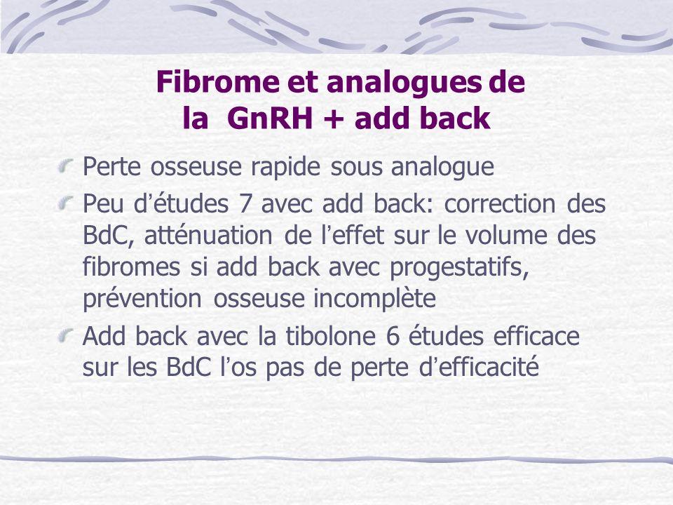Fibrome et analogues de la GnRH + add back Perte osseuse rapide sous analogue Peu détudes 7 avec add back: correction des BdC, atténuation de leffet s