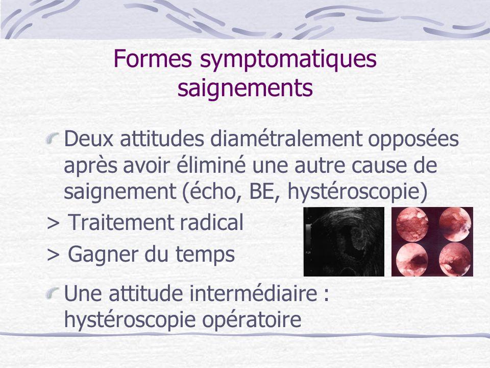 Formes symptomatiques saignements Deux attitudes diamétralement opposées après avoir éliminé une autre cause de saignement (écho, BE, hystéroscopie) >