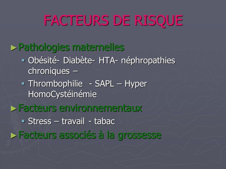 FACTEURS DE RISQUE Pathologies maternelles Pathologies maternelles Obésité- Diabète- HTA- néphropathies chroniques – Obésité- Diabète- HTA- néphropath