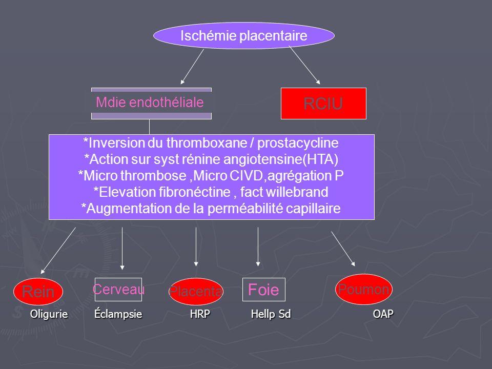 Oligurie Éclampsie HRP Hellp Sd OAP Ischémie placentaire RCIU Mdie endothéliale *Inversion du thromboxane / prostacycline *Action sur syst rénine angi