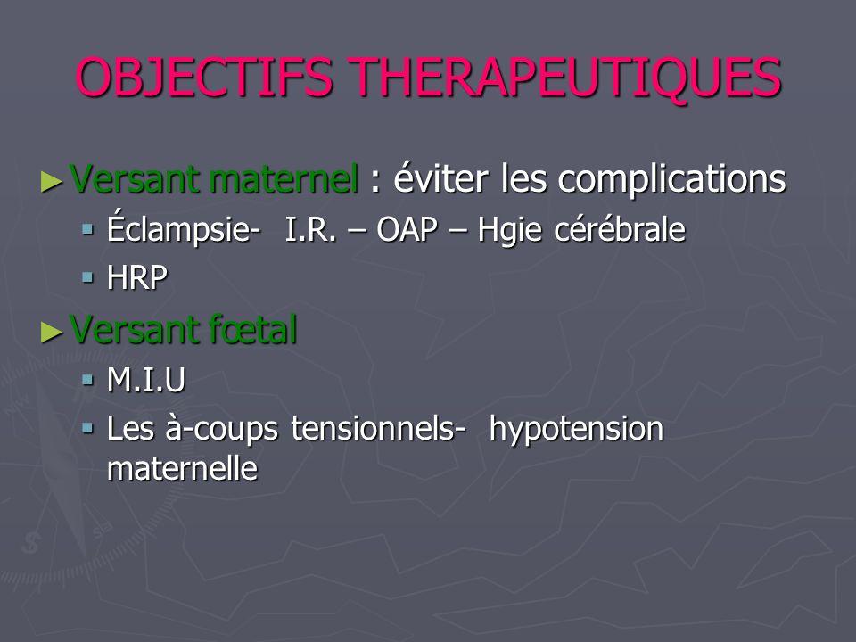 OBJECTIFS THERAPEUTIQUES Versant maternel : éviter les complications Versant maternel : éviter les complications Éclampsie- I.R. – OAP – Hgie cérébral