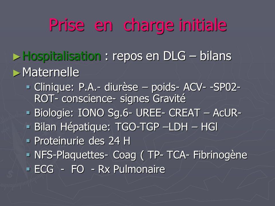 Prise en charge initiale Hospitalisation : repos en DLG – bilans Hospitalisation : repos en DLG – bilans Maternelle Maternelle Clinique: P.A.- diurèse