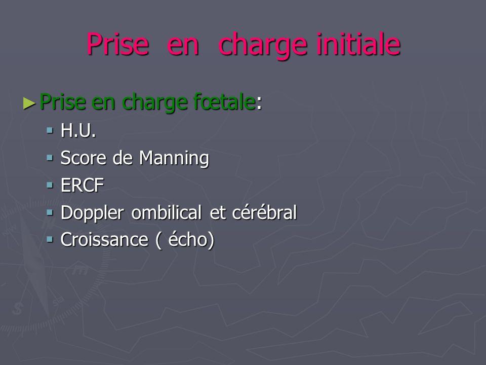 Prise en charge initiale Prise en charge fœtale: Prise en charge fœtale: H.U. H.U. Score de Manning Score de Manning ERCF ERCF Doppler ombilical et cé