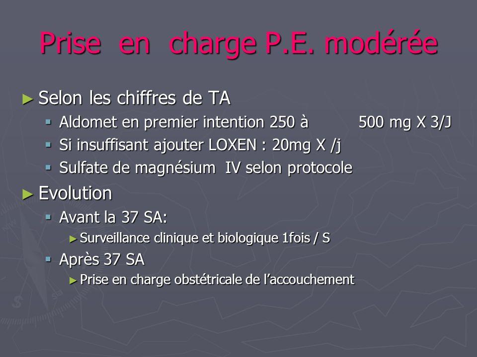 Prise en charge P.E. modérée Selon les chiffres de TA Selon les chiffres de TA Aldomet en premier intention 250 à 500 mg X 3/J Aldomet en premier inte