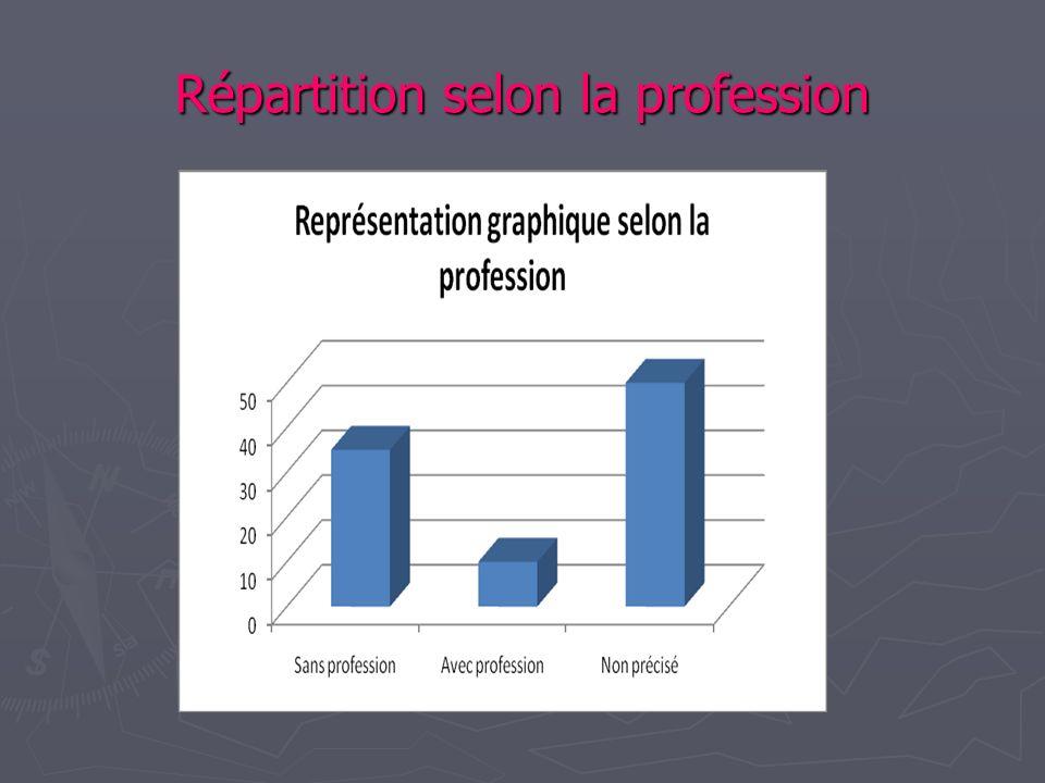 Répartition selon la profession