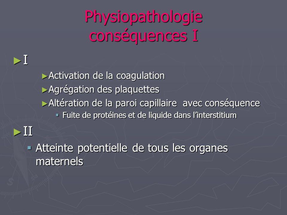 Physiopathologie conséquences II II atteinte potentielle de tous les organes II atteinte potentielle de tous les organes Cerveau : œdème cérébral – amaurose Cerveau : œdème cérébral – amaurose Rein : protéinurie – insuffisance rénale Rein : protéinurie – insuffisance rénale Foie : HELLP SYNDROME Foie : HELLP SYNDROME Poumons: O.A.P.