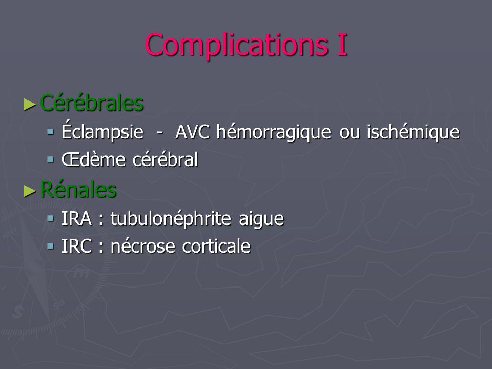 Complications I Cérébrales Cérébrales Éclampsie - AVC hémorragique ou ischémique Éclampsie - AVC hémorragique ou ischémique Œdème cérébral Œdème céréb