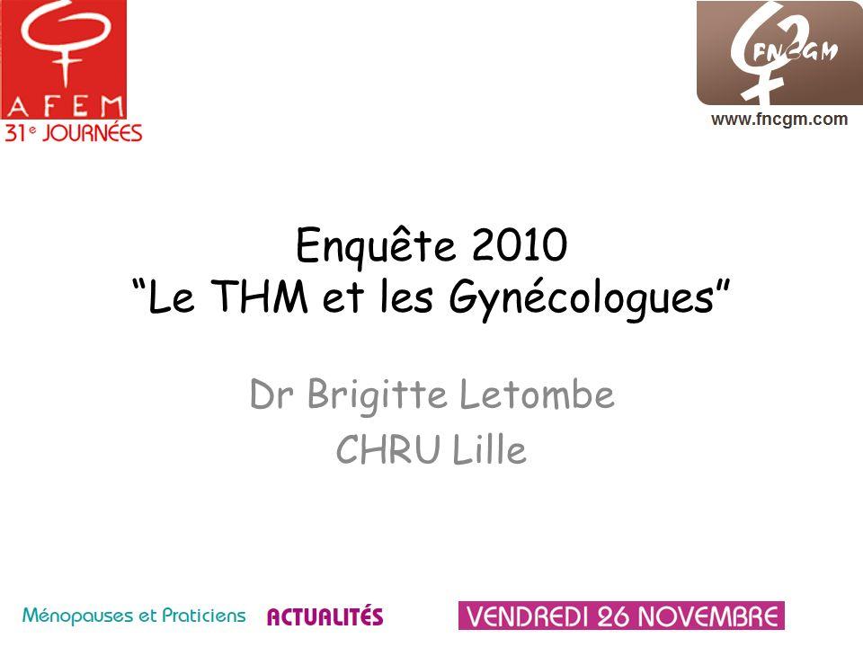 * http://www.menopauseafem.com/http://www.menopauseafem.com/ Objectif Refaire le point sur lattitude des gynécologues vis à vis du THM, 6 ans après lenquête Le gynécologue, ses patientes et le THS : ce qui a changé réalisée par lAFEM en novembre 2004*.