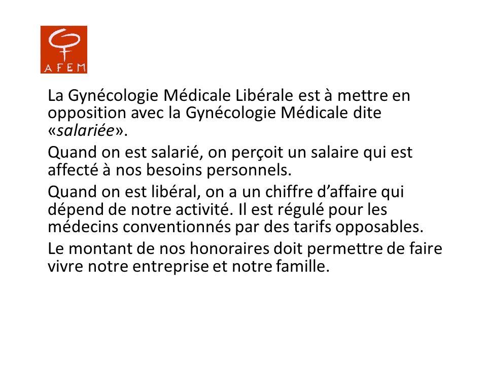 La Gynécologie Médicale Libérale est à mettre en opposition avec la Gynécologie Médicale dite «salariée». Quand on est salarié, on perçoit un salaire