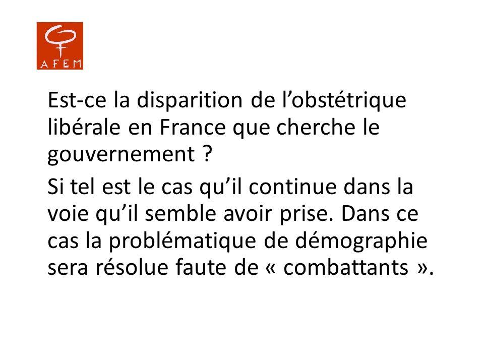 Est-ce la disparition de lobstétrique libérale en France que cherche le gouvernement ? Si tel est le cas quil continue dans la voie quil semble avoir