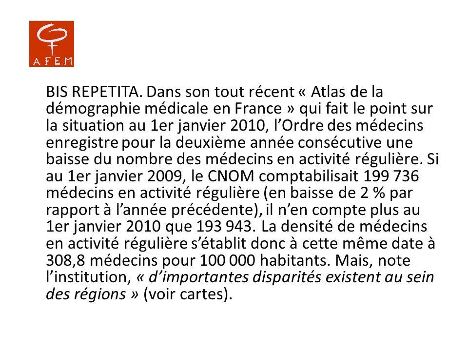 BIS REPETITA. Dans son tout récent « Atlas de la démographie médicale en France » qui fait le point sur la situation au 1er janvier 2010, lOrdre des m