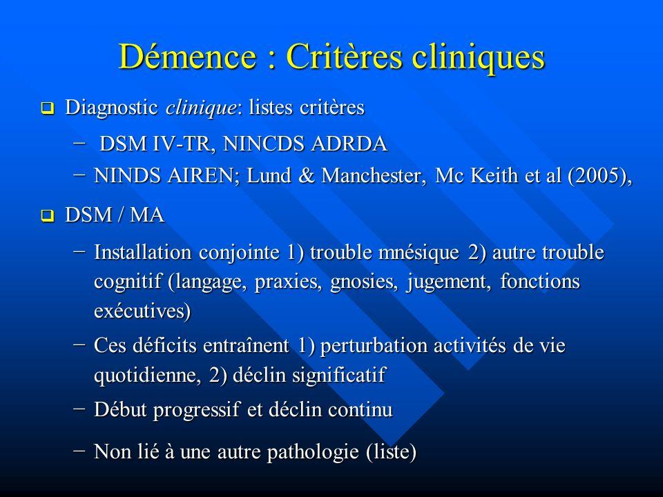 Démence : Critères cliniques Diagnostic clinique: listes critères Diagnostic clinique: listes critères DSM IV-TR, NINCDS ADRDA DSM IV-TR, NINCDS ADRDA
