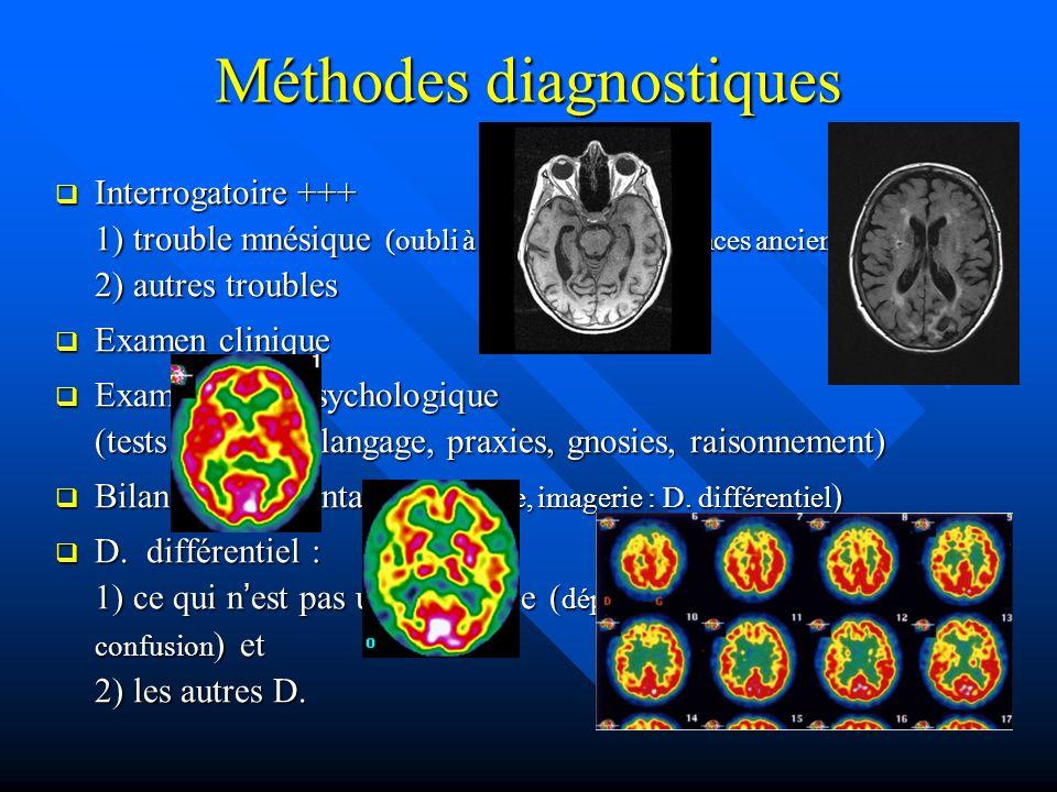 Méthodes diagnostiques Interrogatoire +++ 1) trouble mnésique (oubli à mesure, connaissances anciennes) 2) autres troubles Interrogatoire +++ 1) troub