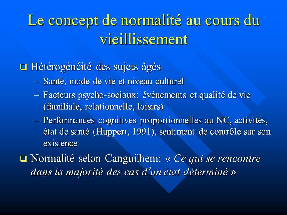 Le concept de normalité au cours du vieillissement Hétérogénéité des sujets âgés Hétérogénéité des sujets âgés –Santé, mode de vie et niveau culturel