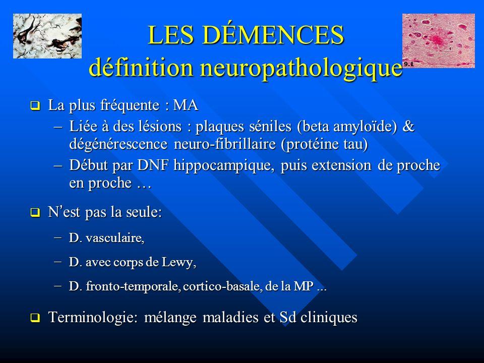 LES DÉMENCES définition neuropathologique La plus fréquente : MA La plus fréquente : MA –Liée à des lésions : plaques séniles (beta amyloïde) & dégéné
