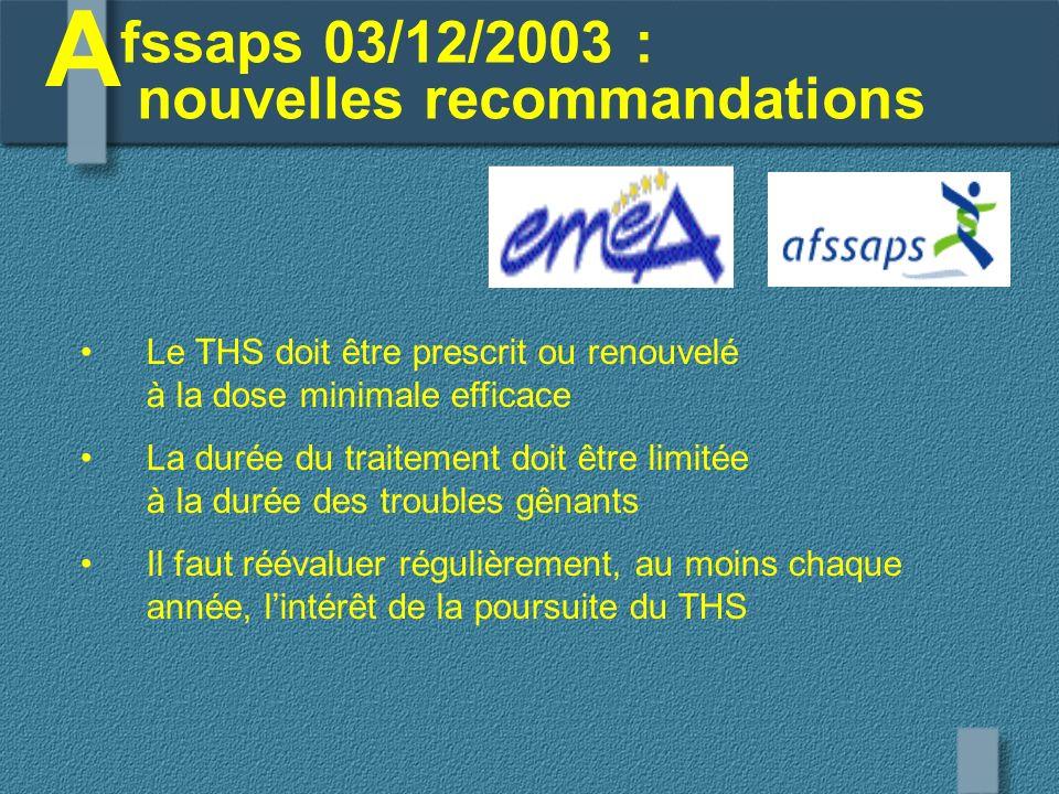 fssaps 03/12/2003 : nouvelles recommandations A Le THS doit être prescrit ou renouvelé à la dose minimale efficace La durée du traitement doit être li