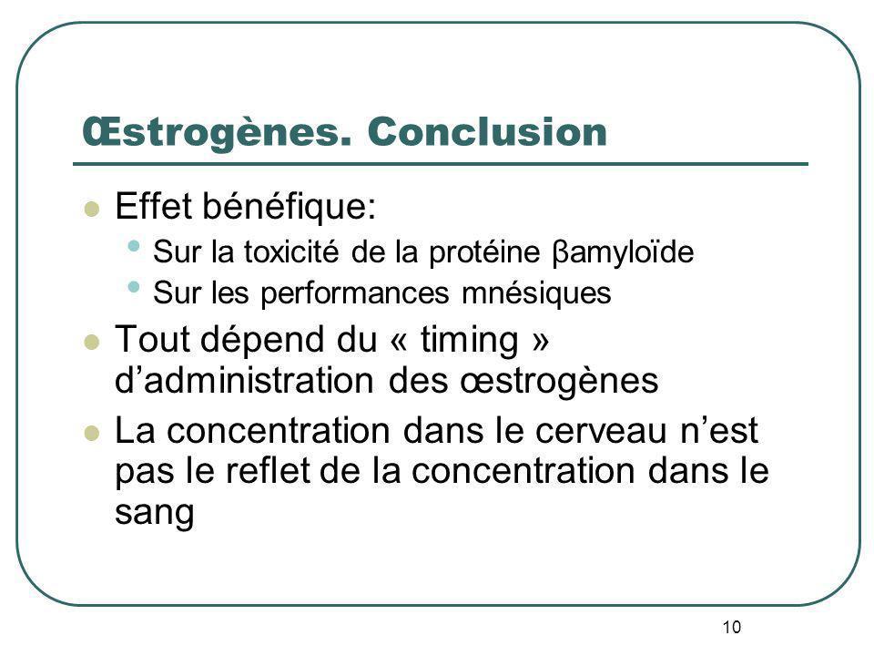 10 Œstrogènes. Conclusion Effet bénéfique: Sur la toxicité de la protéine βamyloïde Sur les performances mnésiques Tout dépend du « timing » dadminist