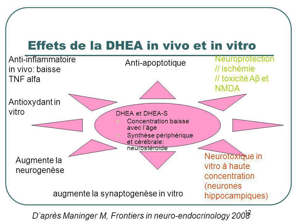 12 Effets de la DHEA in vivo et in vitro DHEA et DHEA-S Concentration baisse avec lâge Synthèse périphérique et cérébrale: neurostéroide Anti-apoptoti