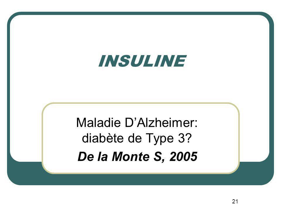 21 INSULINE Maladie DAlzheimer: diabète de Type 3? De la Monte S, 2005