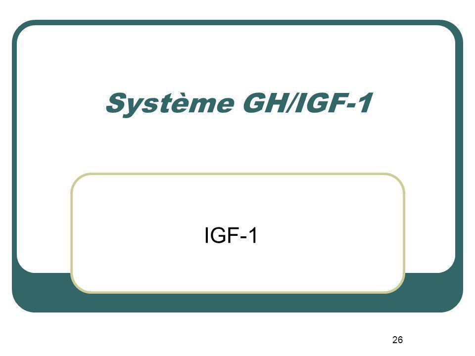 26 Système GH/IGF-1 IGF-1