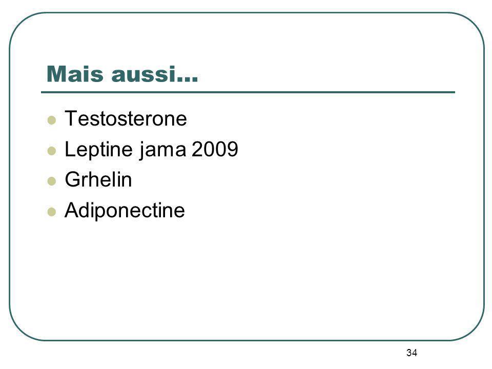 34 Mais aussi… Testosterone Leptine jama 2009 Grhelin Adiponectine