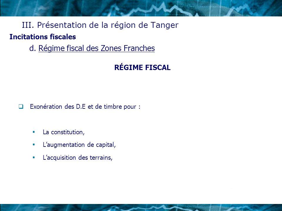 RÉGIME FISCAL Exonération des D.E et de timbre pour : La constitution, Laugmentation de capital, Lacquisition des terrains, Incitations fiscales III.
