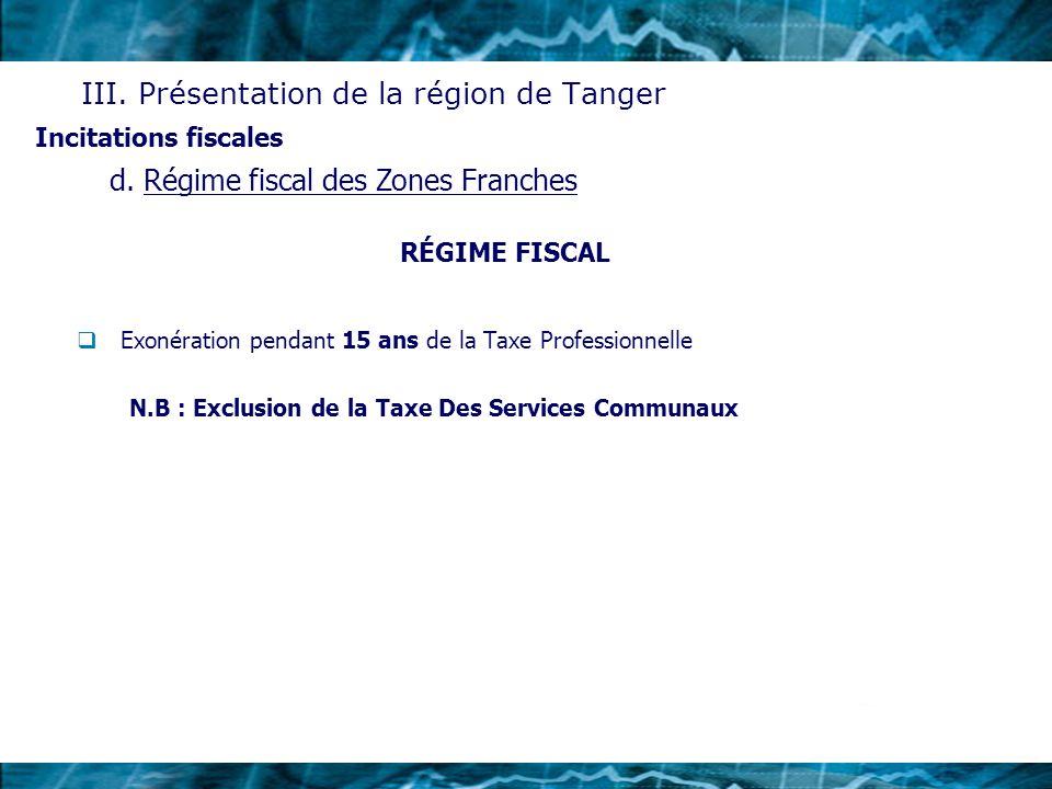 RÉGIME FISCAL Exonération pendant 15 ans de la Taxe Professionnelle N.B : Exclusion de la Taxe Des Services Communaux Incitations fiscales III. Présen