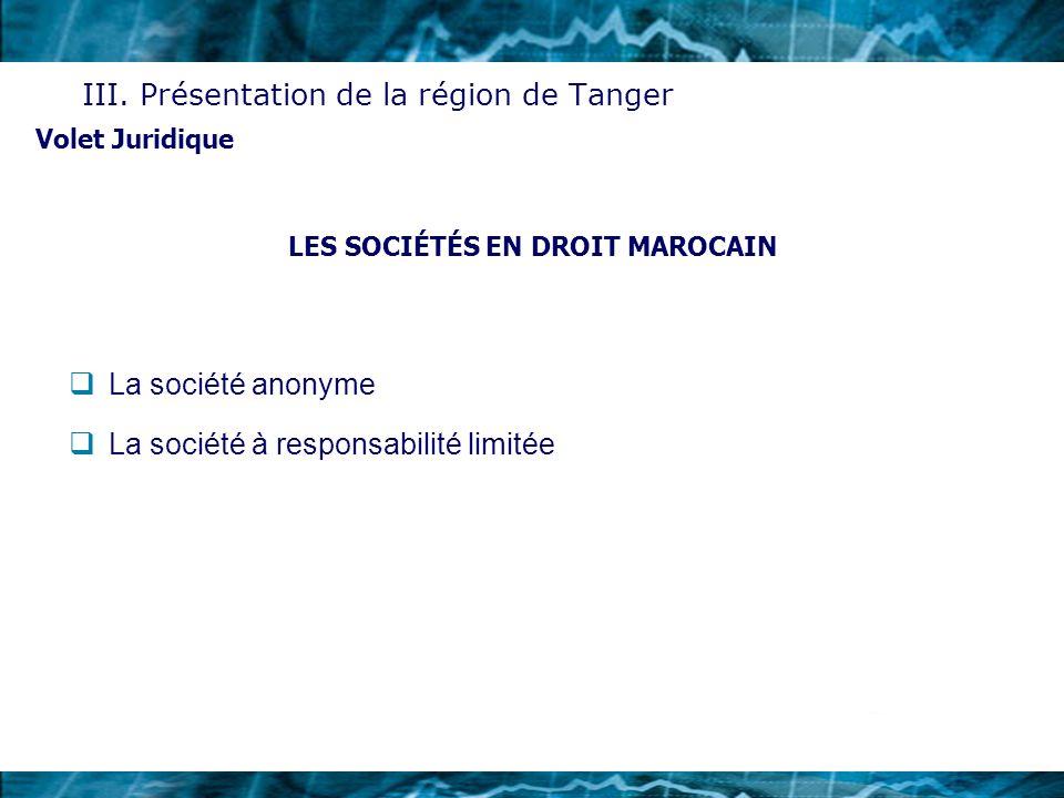 LES SOCIÉTÉS EN DROIT MAROCAIN La société anonyme La société à responsabilité limitée Volet Juridique III. Présentation de la région de Tanger